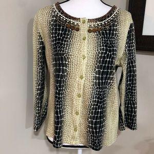 *RAFAELLA* Reptile Print Button Cardigan Sweater